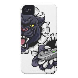 Coques Case-Mate iPhone 4 Mascotte fâchée de Gamer de panthère noire