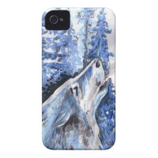 Coques Case-Mate iPhone 4 Souffle bleu de froid de loups d'hiver de loup de