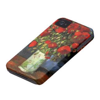 Coques Case-Mate iPhone 4 Vase à Van Gogh avec les pavots rouges, beaux-arts