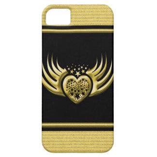 Coques Case-Mate iPhone 5 Coeur à ailes par noir d'or
