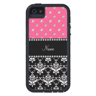 Coques Case-Mate iPhone 5 Diamants noirs nommés personnalisés de rose de