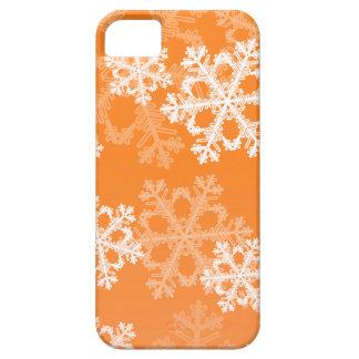 Coques Case-Mate iPhone 5 Flocons de neige mignons de Noël orange et blanc