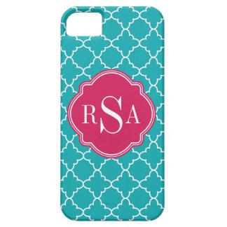 Coques Case-Mate iPhone 5 Monogramme bleu lumineux de rose de treillis de