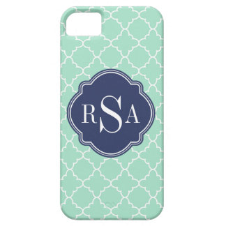 Coques Case-Mate iPhone 5 Monogramme vert en bon état de bleu de treillis de