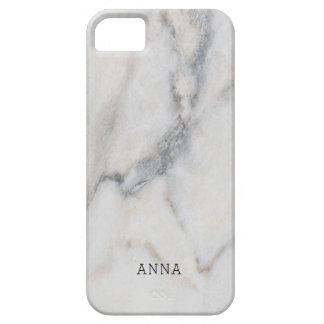 Coques Case-Mate iPhone 5 Texture de marbre blanche avec le nom fait sur