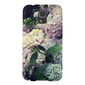 Coques Galaxy S5 Caisse bleue rose de fleurs d'hortensia de fleurs