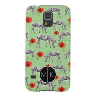 Coques Galaxy S5 Les zèbres parmi des ketmies fleurit le monogramme