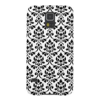 Coques Galaxy S5 Noir de motif de damassé de Feuille