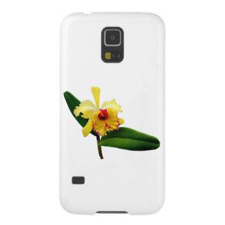 Coques Galaxy S5 Orchidée jaune inclinée par rose