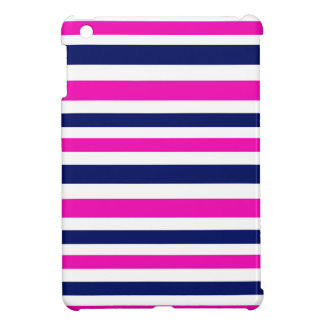 Coques iPad Mini Bleu de luxe de rose de rayures