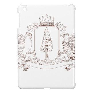 Coques iPad Mini Dessin de crête de couronne de séquoia de hibou et