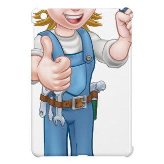 Coques iPad Mini Électricien de femme de bande dessinée tenant le