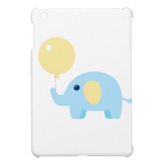 Coques iPad Mini éléphant de bébé bleu avec le ballon