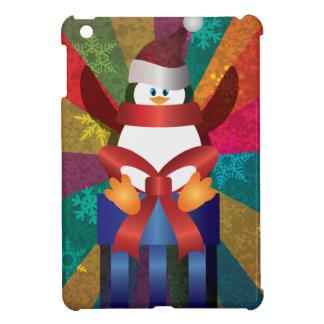 Coques iPad Mini Pingouin de Noël avec les flocons de neige et le
