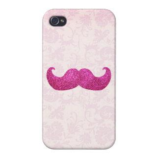 Coques iPhone 4/4S Moustache rose de Bling (graphique de parties