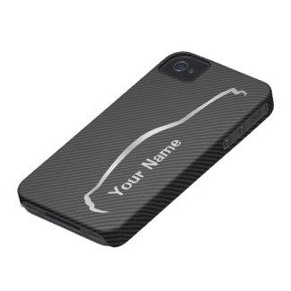 """Coques iPhone 4 """"ajoutez votre logo gris de silhouette"""" de mustang"""