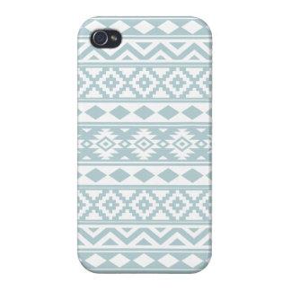 Coques iPhone 4 Bleu aztèque et blanc d'oeufs de canard de Ptn