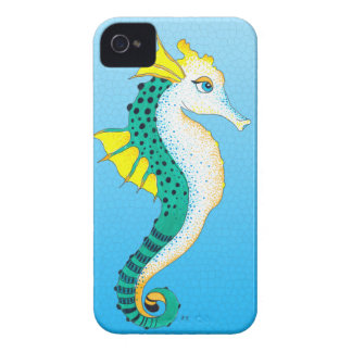Coques iPhone 4 bleu turquoise d'hippocampe