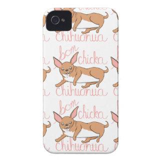 Coques iPhone 4 Calembour drôle de chien de chiwawa de Bom Chicka