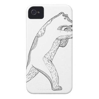Coques iPhone 4 Case-Mate Art de boxe de griffonnage d'ours gris