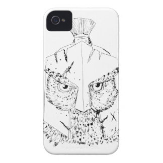 Coques iPhone 4 Case-Mate Dessin spartiate de casque de hibou à cornes