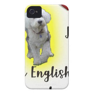Coques iPhone 4 Case-Mate J'aime mon vieux chien de berger anglais