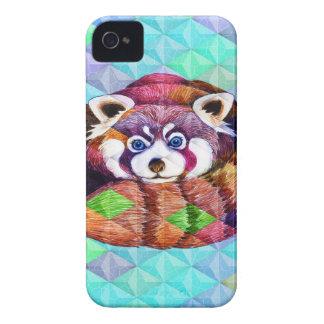 Coques iPhone 4 Case-Mate Le panda rouge concernent le cubisme de turquoise