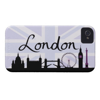 Coques iPhone 4 Case-Mate Manuscrit de Londres sur le ciel d'Union Jack et