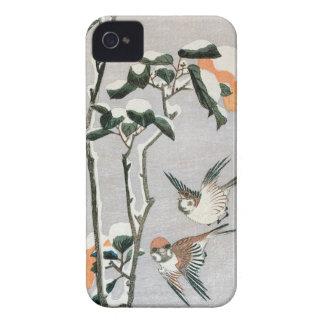Coques iPhone 4 Case-Mate Moineaux et camélia dans la neige par Ando