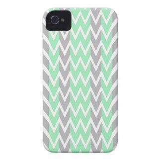 Coques iPhone 4 Case-Mate Nettoyez les bosses grises et vertes de Chevron