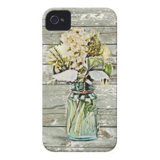 Coques iPhone 4 Case-Mate Pays français en bois de grange de fleur sauvage