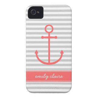 Coques iPhone 4 Case-Mate Rayures et monogramme gris et de corail d'ancre