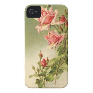 Coques iPhone 4 Case-Mate Roses roses vintages de jardin pour la