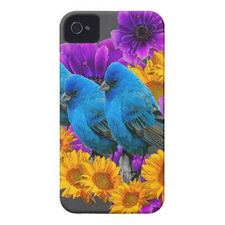 COQUES iPhone 4 Case-Mate TROIS OISEAUX BLEUS ET FLEURS DE PURPLE-YELLOW
