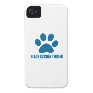 COQUES iPhone 4 CONCEPTIONS NOIRES DE CHIEN DE TERRIER DE RUSSE