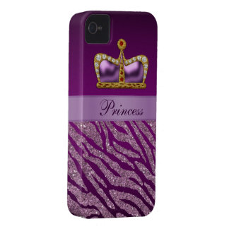 Coques iPhone 4 Copie pourpre de princesse Crown Faux Glitter