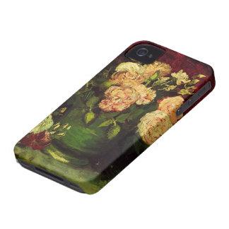 Coques iPhone 4 Cuvette de Van Gogh avec des pivoines et des