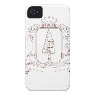 Coques iPhone 4 Dessin de crête de couronne de séquoia de hibou et