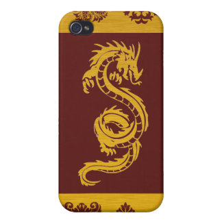 Coques iPhone 4 Dragon chinois de mythologie, ornements - or rouge