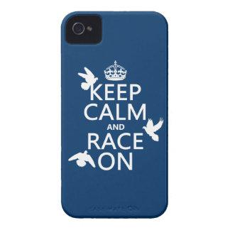 Coques iPhone 4 Gardez le calme et la course sur (pigeons) (toutes