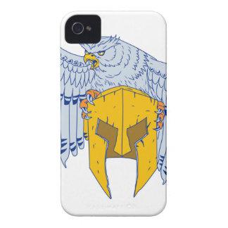 Coques iPhone 4 Hibou à cornes saisissant le dessin spartiate de
