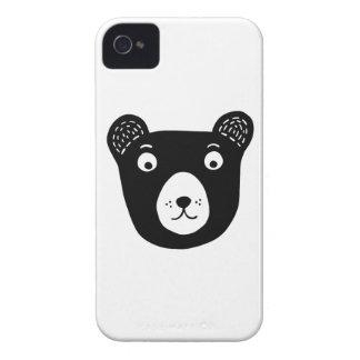 Coques iPhone 4 Illustration noire et blanche mignonne d'ours