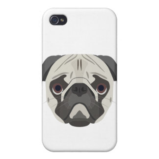 Coques iPhone 4 L'illustration poursuit le carlin de visage