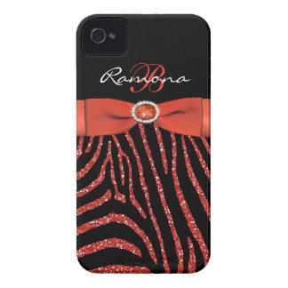 Coques iPhone 4 Monogramme orange, iPhone noir 4/4S de zèbre de