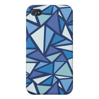 Coques iPhone 4 Motif bleu abstrait de Crsytal de glace