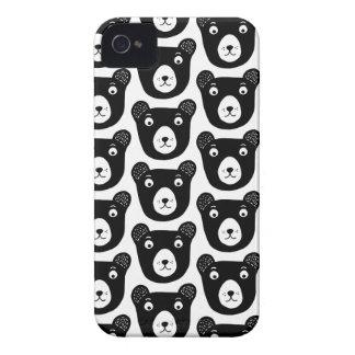 Coques iPhone 4 Motif noir et blanc mignon d'illustration d'ours