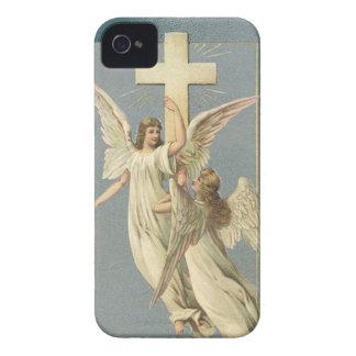 Coques iPhone 4 Pâques vintage, anges victoriens avec une croix
