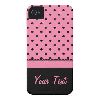 Coques iPhone 4 Roses indien nommées de pois de noir de chaussette