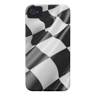 Coques iPhone 4 Vitesse noire et blanche de finition de drapeau de