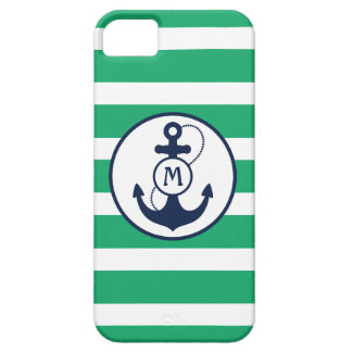 Coques iPhone 5 Case-Mate Monogramme nautique vert d'ancre